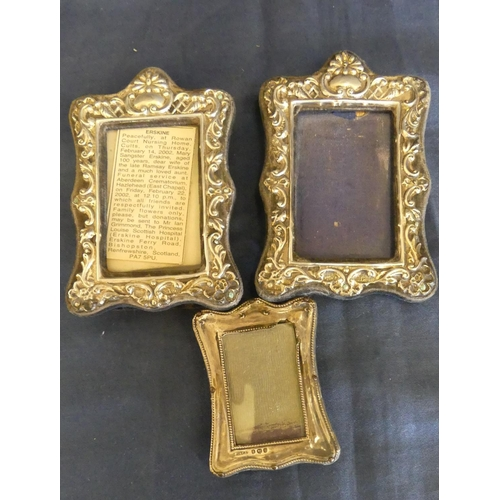 1062 - Three Small Silver Mounted Photo Frames.