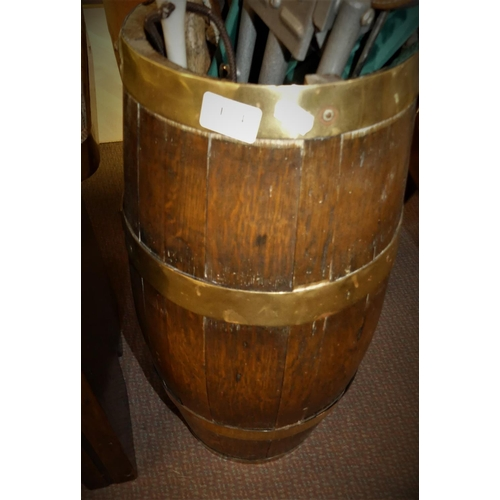 Oak Brassbound Barrel Stick Stand.