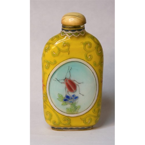 1030 - Chinese Yellow Glass Snuff Bottle Painted with Panels of Colourful Beetles.