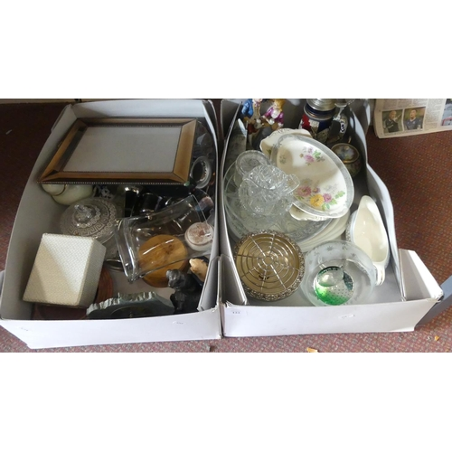 2 Boxes Glass, China & Ornaments