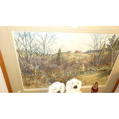 Framed Signed Print - Hunting Woodcock by P. Lassell Ripley, 69 x45cm.