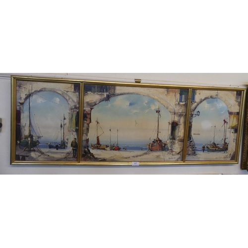 Framed Triptych Oil Painting Harbour Scene by Jorge Aguilar measuring 121 x 40cm.