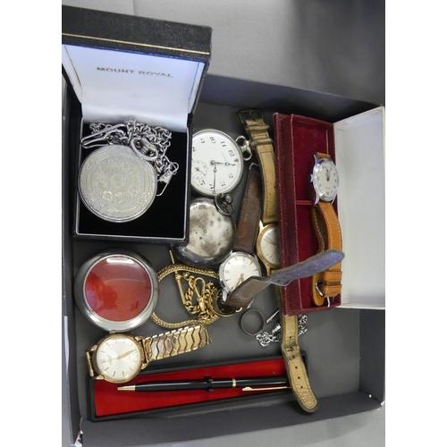 Box - Gents Wrist Watches, Pocket Watches, Pens etc