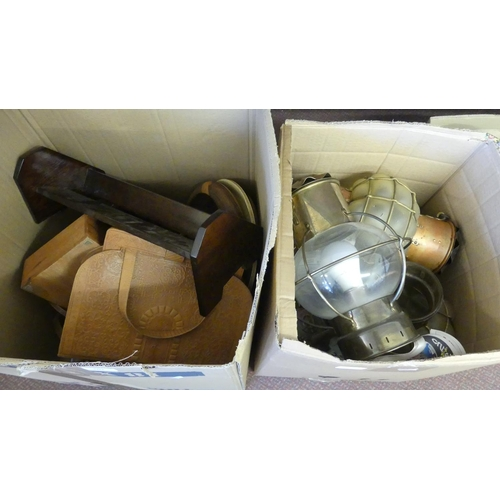 502 - Two Large Boxes of wall lights, book trough, wooden bowls etc.