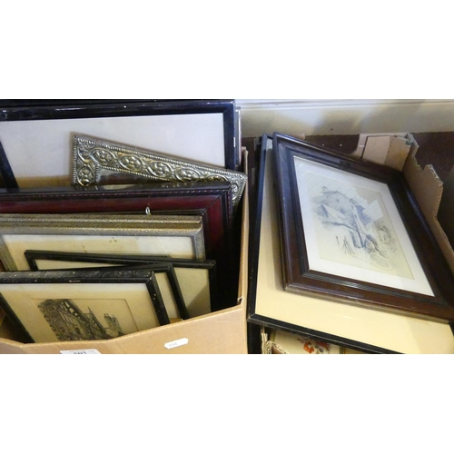 507 - Two Boxes - Prints, Engravings, Mirrors etc.