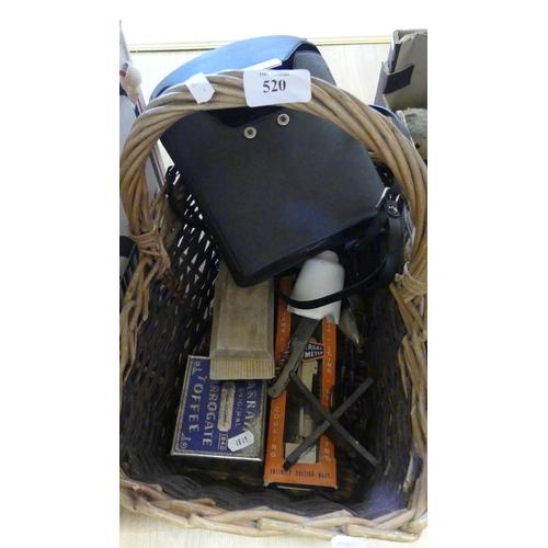 520 - Basket - Binoculars, Advertising Tins & Butter Pats etc.