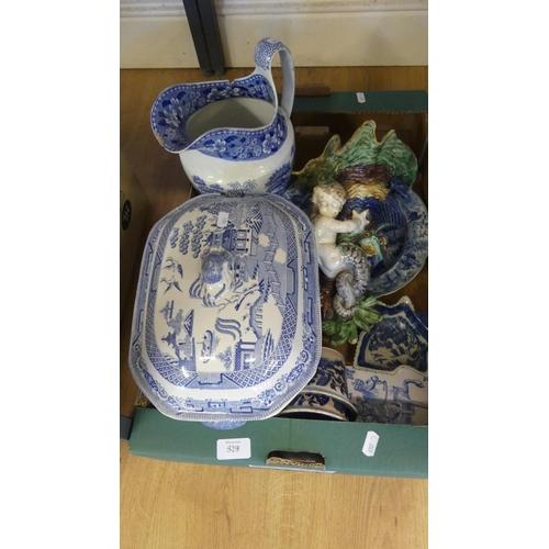 529 - Box - Blue & White Pottery etc.