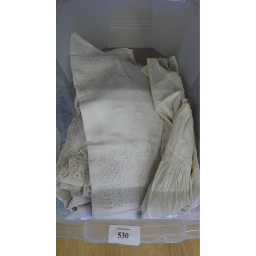 530 - Box - Christening Gown, Table Cloth, Napkins etc.