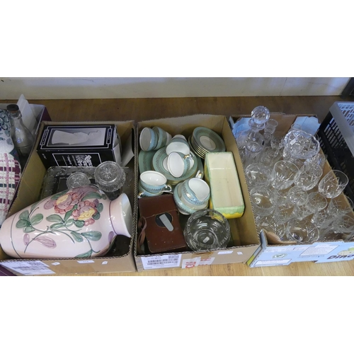 534 - Three Boxes - Assorted China, Crystal Glasses, Part Teaset etc.