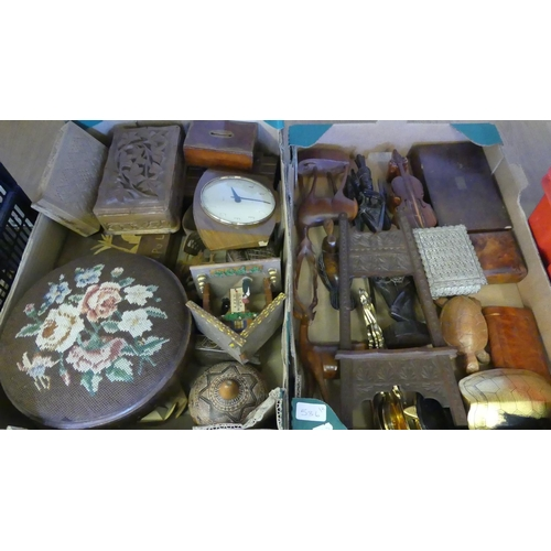 536 - Two Boxes - Clocks, Footstools & Wooden Figures.