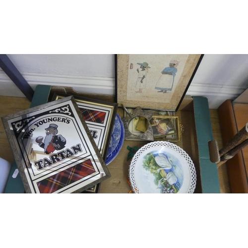 539 - Box - Assorted Prints, Plates, Advertising Mirrors etc.