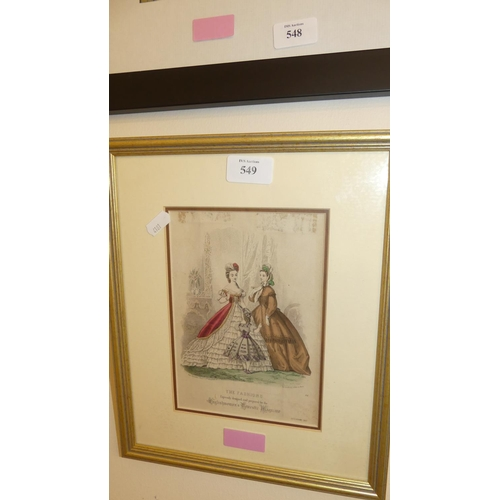 549 - 19th Century Antique Framed Coloured Fashion Engraving.