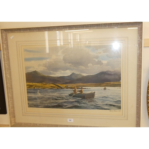 550 - Signed Print - Fishing on a Loch with Mountains in Background by Ogden M Plessner.