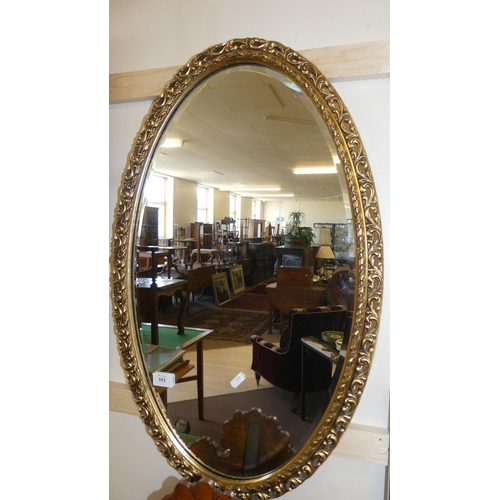 551 - Oval Gilt Framed Wall Mirror.