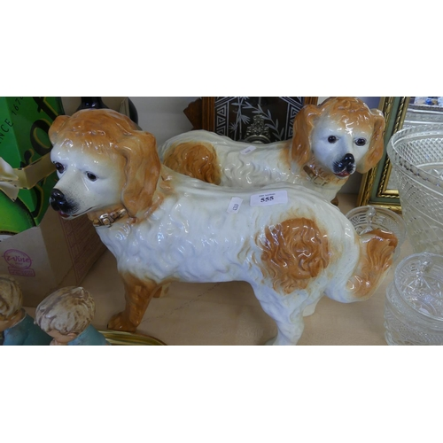 555 - Pair of Victorian Scottish Pottery Standing Dogs (AF).