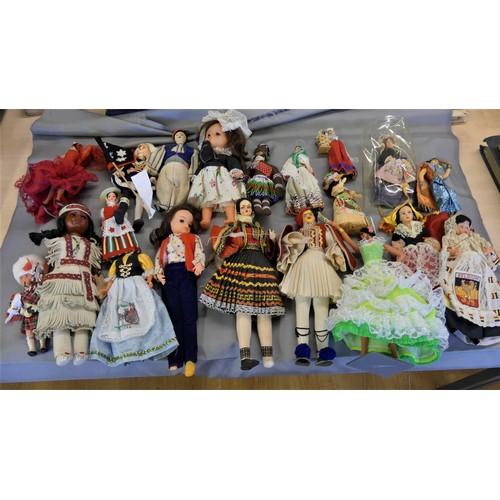 519 - Box - Assorted Vintage Souvenir Dolls.