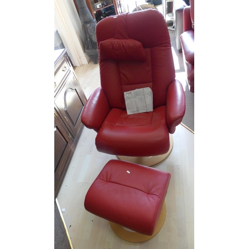 Red Leather Reclining Chair & Stool