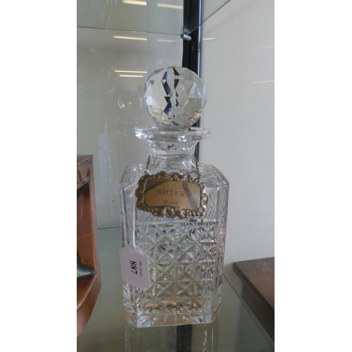 Crystal Decanter with Hallmarked Silver Whisky Label.