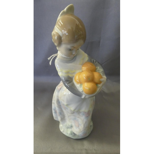 Lladro Figure - Young Girl with Basket of Oranges.