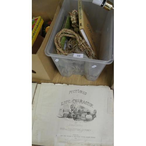 530 - Box - Tie-Backs, Place Mats, Antique Book etc.