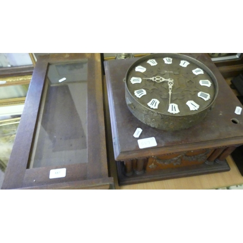 557 - Wall Clock Case, Music Box Case & Battery Operated Vintage Wall Clock.