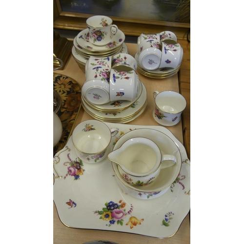Cauldon Bone China Tea Set - colourful floral & gilt.