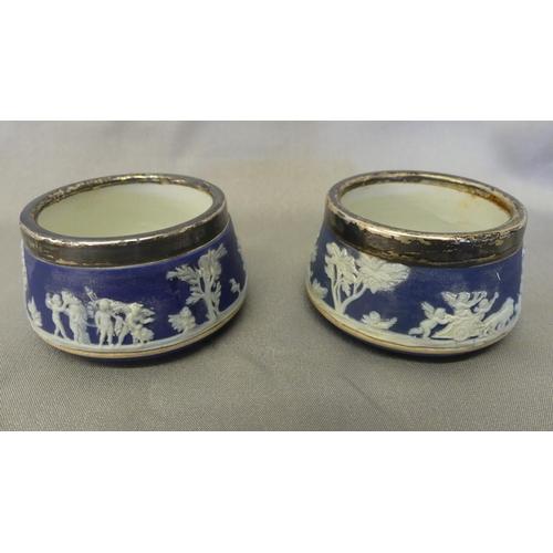 1077 - Wedgwood Blue Jasper Salts with Birmingham Silver Rims.