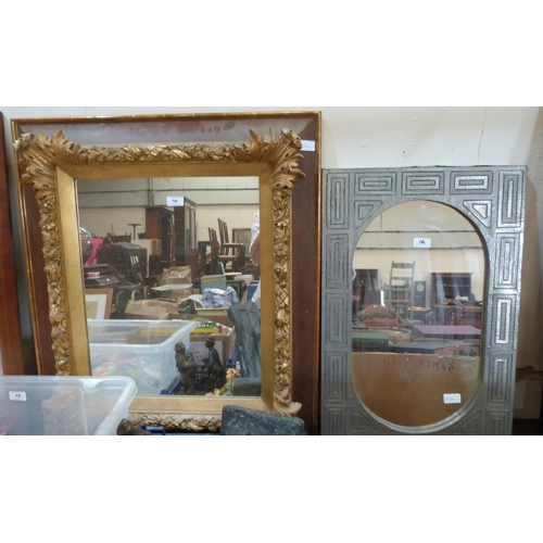 16 - A gilt framed wall mirror and a smaller mirror with silvered frame...