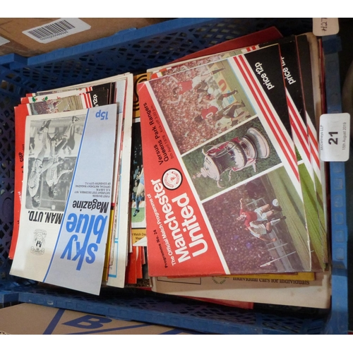 21 - A collection of 1970s soccer programmes, predominantly Manchester United...