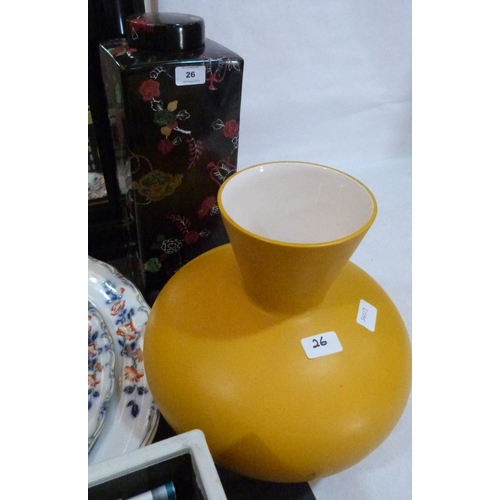 26 - An oriental style square form jar and cover 18' high and a yellow glazed vase...