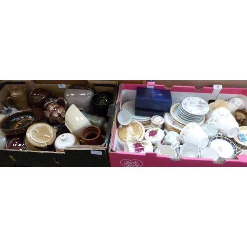 36 - A box of teaware and a box of pottery...