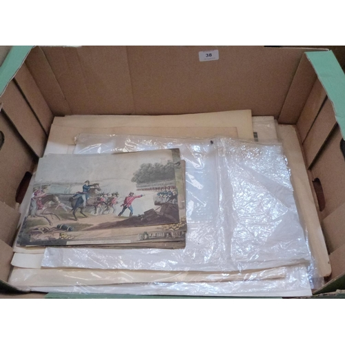 38 - A collection of unframed prints, the lot to include a gouache moorland landscape...