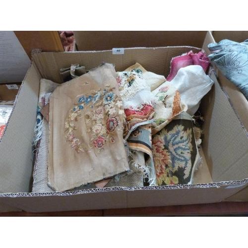 40 - A box of needlework textiles...
