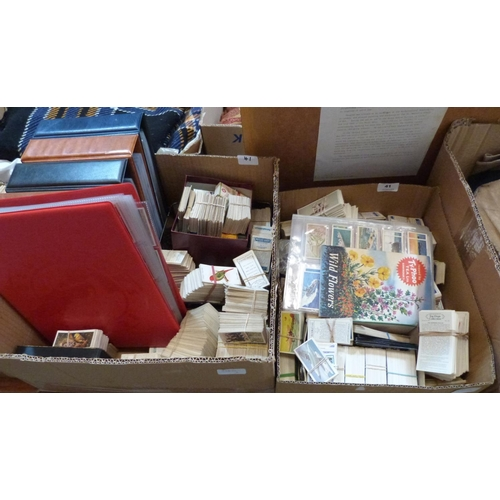 41 - Two boxes of sets and part sets of cigarette cards...