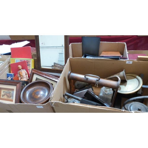 43 - Two boxes of sundry wood and metalware...
