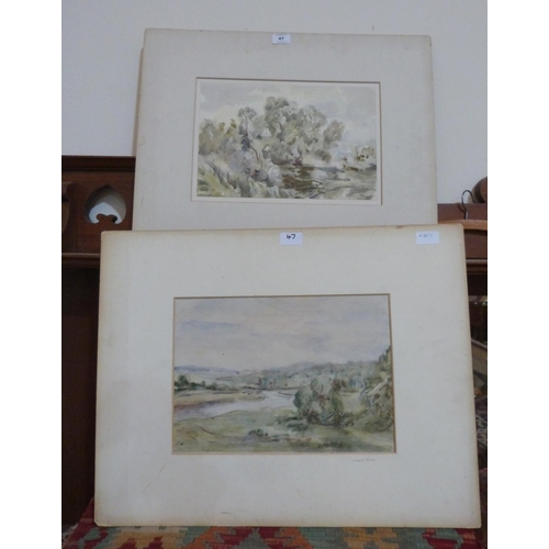 47 - VICTOR WETHERED N.E.A.C; BRITISH 20TH CENTURY  Two landscapes. Watercolour 10' x 14'...