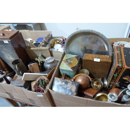 49 - Two boxes of sundry wood and metalware...