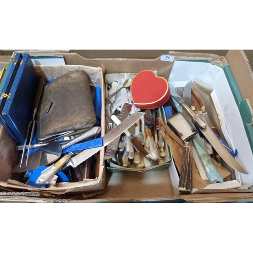 51 - A box of cutlery and sundries...
