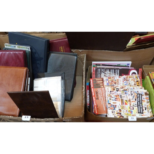 53 - Two boxes of trade cards and a box of related ephemera...