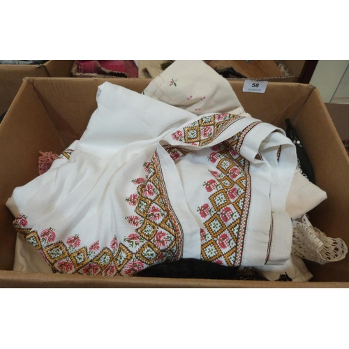 58 - A box of linen and lace...