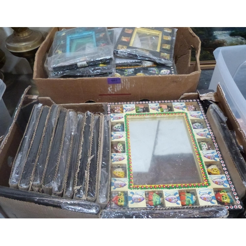 107 - Two boxes of frames, some with mirror plates...