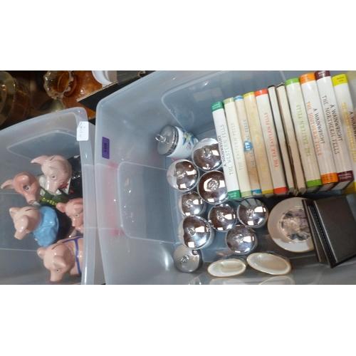108 - A set of Wade Nat.West piggybanks, Wainwright books and Royal Worcester ceramics...