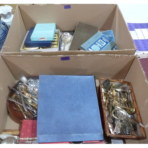 113 - Two boxes of plated cutlery...