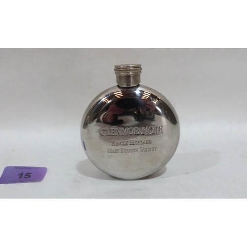 15 - A plated whisky flask and a steel example...