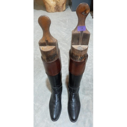 18 - A pair of gentleman's 'brown top' leather hunting boots with trees...