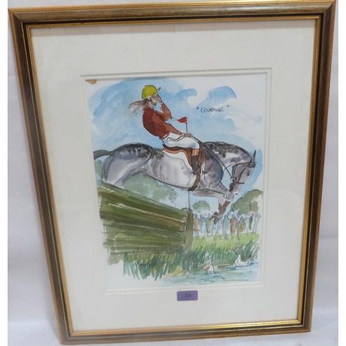 25 - MARK HUSKINSON. BRITISH 20th CENTURY A humorous racing cartoon 'Courage'. Incribed. Watercolour. 14½...