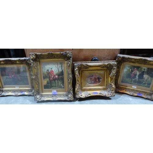 28 - Four heavy gilt framed hunting oleographs...
