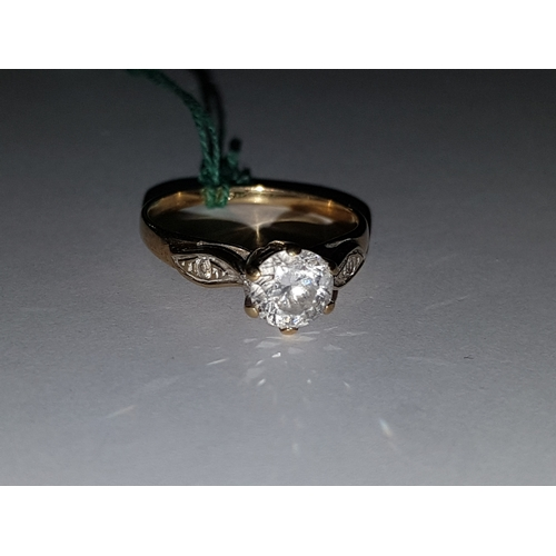127 - 9k White Stone Ring (M)...