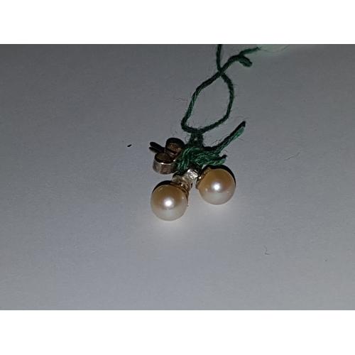 130 - Silver Pearl Stud Earings...