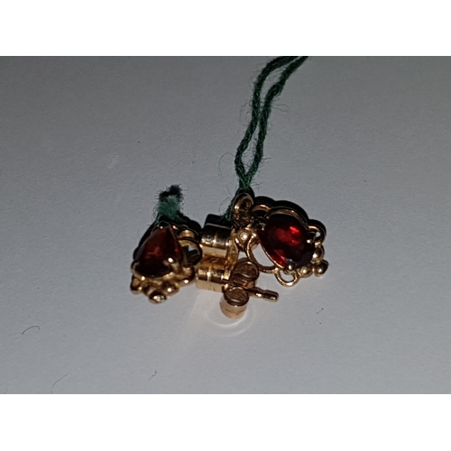 131 - 9k Garnet Drop Earings...